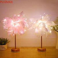 LED 깃털 그늘 테이블 책상 램프 분위기 밤 빛 크리스마스 장식 소프트 핑크 침실 학습 룸