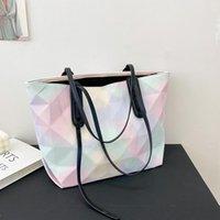 Evening Bags Maelove 2021 Geometry Bag Women Geometric Laser Plain Folding Rainbow Diamond Tote Quilted Shoulder Messenger