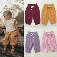 Trousers Summer Kids Baby Girl Casual Pants Long Bloomers With Pocket Cotton Lace-up Bottoms Clothes 6M-3Y