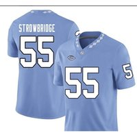 CUSTOM BLUE WHITE UNC Tarheels Jason Strowbridge #55 real Full embroidery College Jersey Size S-4XL or custom any name or number jersey