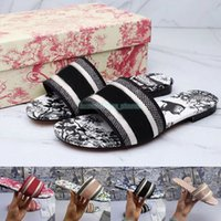 Dway 2021 Scivoli Sandali da donna Pantofole Designer di ricami Sandali con scivolo Infradito Mocassini con pantofole a fiori in gomma a righe da spiaggia con scatola 35-41 cursori