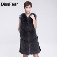 Women's Fur & Faux Winter Women Real Vest Solid Genuine Jacket Slim Gillet Sleeveless Overcoat Female Ladies Natural Coat