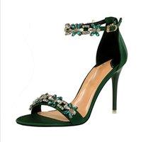 2021 Women 9cm High Heels Crystal Sandals Wedding Bridal Stiletto Heels Sandles Glitter Prom Elegant Stripper Satin Strap Shoes