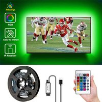 5V телевизора светодиодная подсветка 5050 RGB экран телевизора фона оформлении света 1 м 2 м 3 м 4 м 5 м. Света полоса с USB-кабелем и удаленным