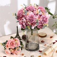 Fiori decorativi Corone Bella Ortensia Rose artificiali per la casa Decorazioni di nozze di alta qualità Bouquet di autunno Mousse peonia Falso