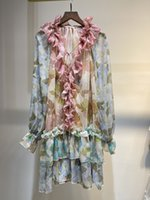 Australian Fashion Chiffon Dress 2021 autumn winter new Ruffle Ruffle print romantic long sleeve short dress