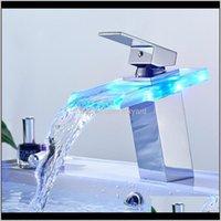 Led Basin Faucet Brass Waterfall Temperature Colors Change Bathroom Mixer Tap Deck Mounted Wash Sink Glass Taps Vxiku Rzixu