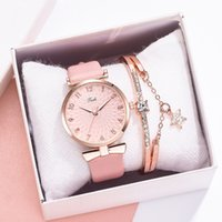 2 pcs set mulheres relógios pulseira conjunto flores ladies pulseira relógio casual couro de quartzo relógio relógio relógio relogio feminino
