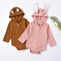 Spring And Autumn Round Neck Rabbit Ears Rompers Lovely Long Sleeve Button Climbing Suit Children's Wear 23xt T2