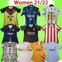 2021 2022 Kadın Chivas Futbol Forması Siyah Liga Meksika MX Kulübü FC 21 22 Kız Guadalajara Amerika CA Üniformaları Bayanlar Tekthler Futbol Gömlek Brizuela Pulido Unam Cougar