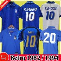 الرجعية 1982 إيطاليا World Cup Soccer Jerseys 20 # Paolo Rossi Maldini Mailleots Italia Classic Top 1994 1996 1998 2006 R.Baggio Totti Pirlo del Piero كرة القدم