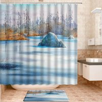 Shower Curtains Winter Landscape Set Bath Mats Rugs Carpet Natural Scenery For Home Bathroom Decor Curtain Products