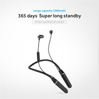 One piece Cell Phone Earphones A8 5.0 Neck type Bluetooth Headset headphone Large capacity 1000mAh Metals Magneitc suction heads support Siri