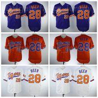 야구 Clemson 호랑이 대학 28 세스 맥주 저지 대학 팀 컬러 화이트 퍼플 오렌지 자수 및 재봉 통기성 순수 면화 우수한 품질