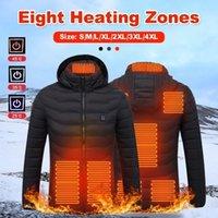 2021 мужская 8 района с подогревом куртка деловой мужской Parkas повседневная верхняя одежда Coats USB зимнее наружное электрическое отопление куртки пальто теплый оворотный хлопок черная мужская одежда