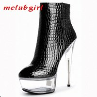 Mclubgirl 15 cm Super High Heel Club Einfache High and Niedrig Stiefel Vier Jahreszeiten Grid PU Kurzstiefel LYP C 120 1 Schuhe zum Verkauf Billig CO E42Q #