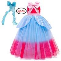 Girl's Dresses Baby Girl Dress Sleeveless Bowknot Kids Princess Costume For Girls Birthday Party Cosplay Frocks Children Net Yarn
