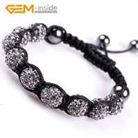 Charm Bracelets Assorted Colors 10mm Rhinestone Czech Crystal Ball Hand-knotted Bracelet For Women Adjustable Size Wholesale