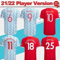 Jerseys de futebol da versão do jogador # 7 Ronaldo # 25 Sancho # 11 Greenwood Home Vermelho Jersey 21/22 # 18 B.fernandes # 10 Rashford Away Camisa # 6 Pogba # 23 Shaw Uniform + Patch