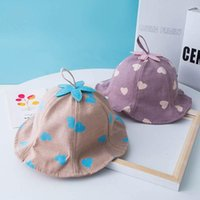 Caps & Hats Cute Heart Print Baby Hat Summer Bucket Kids Girl Sun Infant Toddler Panama Protection Cap Casquette Enfant