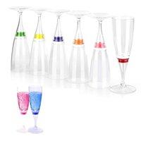 6 ADET LED Şarap Şampanya Flüt Gözlük Su Sıvı Aktif Yanıp Sönen Işık-up Bardak JA55