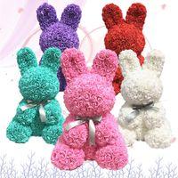 Conejito simulación rosa conejo animal forma rosa valentines día flor decoración artificial cumpleaños decoración de la boda regalo