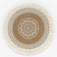 Wholesale Round Tassel Placemats Boho Cotton Woven Macrame Table Mats Creative Washable Heat Resistant Pads for Dining Room Kitchen