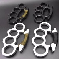 and Silver Black Thin Steel Brass Knuckle Dusters with Rope Self Defense Personal Security Women and Men Selfdefense Pendant