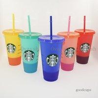 24OZ 710ml Starbucks Color Change Plastic Tumbler Reusable Clear Drinking Flat Bottom Cup Pillar Shape Lid Straw Mug Bardian