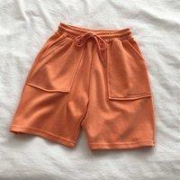 Suor Shorts para Mulheres Esporte Casual Elastic Cordão Alto Cintura Sweatshorts Bolas de Algodão Macias Macias Bottoms Verão Hot Y0625