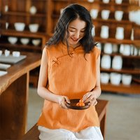 Johnature Stand Vintage Camisas Sem Mangas Mangas Cor Sólida Algodão Novo Verão Chinês Estilo Mulheres 5 Color Camisas Tops 210315