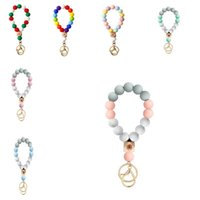 7 style Silicone Bead Bracelet Party Favor Beech Tassel Keychain Pendant Bracelets Ladies Jewelry Keychains dd617