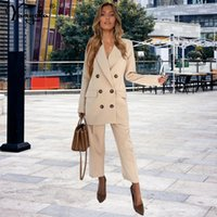 Women's Two Piece Pants Sexy Buttons Office Casual 2 Blazer Sets Women Autumn Party High Waist Pant Suits Double Breasted Set