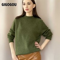 GIGOGOU Woolen Women Turtleneck Sweaters Autumn Winter Thick Warm Knitted Pullover Tops Oversized Jumper Women Cashmere Sweater 210918