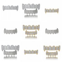 Hip Hop Iced Out CZ Mouth Teeth Grillz Caps Top Bottom Grill Set Men Women Vampire Grills 196 R2