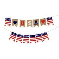 Banner Flaggen Schwalbenschwanz Banner Unabhängigkeit Tag Schnur Flaggen USA Buchstaben Bunting 4. von Juli Party Dekoration Party Supplies T2I52242