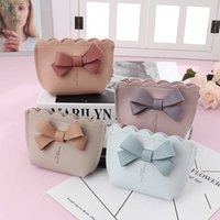 1PC Bowknot Cute Mini Coin Purse Portable Money Bag Zipper Keychain Girls Pouch Solid Color PU Leather Women's Small Wallet