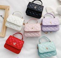 Classic kids diamond quilted handbag luxury girls metal chain crossbody bag children single shoulder bags Lady style women mini purse A7141