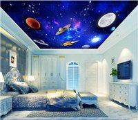 Wallpapers 3d Ceiling Mural Po Wallpaper Blue Universe Starry Space Planet For Walls In Rolls Home Decor The Living Room