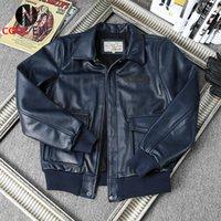 Men's Leather & Faux 2021 Brown Genuine Jacket Men Military Style Plus Size 3XL Real Natural Cowhide Autumn Slim Fit A2 Pilot Coat