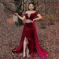 Burgundy Arabic Mermaid Velvet Evening Dresses Over skirt Split Appliques Lace Velour Prom Gowns Algerian Outfit