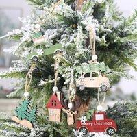 3 PCS Set Christmas Wooden Hanging Ornaments New Year Xmas Tree Drop Decorations Elk Car House Shape Pendants EWB10566