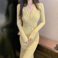 Eleganti vestito stile francese donne solido pieno scollo a V sottile sexy casual chiffon designer stile coreano chic nuovo 2021 autunno femminile
