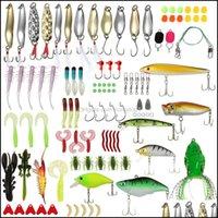 Sports Outdoors106pcs Shale Moxed Hard Soft Baits Popper Crankbait VIB Topwater Плавающие рыболовные приковы Крючки Asessories Kit Set Drop