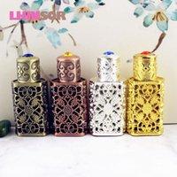 3ml Antiqued Metall Parfüm Flasche arabische Stil ätherische Öle Doterra Containerlegierung Royal Glasflaschen Hochzeit verziertes Geschenk