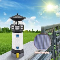 Multi-functional Lighthouse Shape Solar LED Light Practical Durable Classic Garden Fence Yard Outdoor Decor Beacon Lamp Lawn Lamps