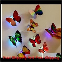Led Colorful Butterfly Night Light New Indoor Flashing Wall Lights Wedding Bar Room Christmas Party Festive Decoration Supplies Home V Bh0Ke