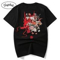 Bordado de manga curta t camisa masculina estilo chinês harajuku marca marca tamanho grande algodão meia-manga verão