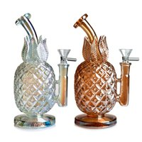 Holographic Rainbow pineapple bong glass water pipes Smoking Pipe Tobacco Beaker bongs w  ICE catcher 7.8 inches