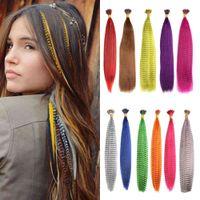 Mydiva 50 Piec Strands Przedłużenie Syntetyczne Fałszywe Rainbow Overhead Fałszywy Kolorowanki Pióro do włosów